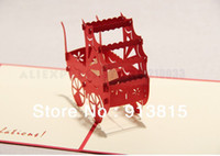 Wholesale D Baby Carriage Handmade Creative Kirigami Origami Pop UP Birthday Greeting Gift Card set of