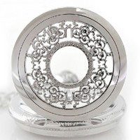 antiques - Antique Hollow Silver Tone Quartz Pocket Watch Necklace Pendant Women Men Gift