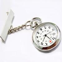 Unisex antique watch brooch - Antique Hot Sale Stainless Steel Medical Doctor Brooch Fob Quartz Cross Nurse Silver Pocket Watch XMPJ089