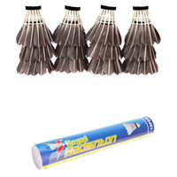goose feathers - 12PCS Goose Feather Badminton Cork Shuttlecocks Outdoor Sports Accessories Black H11788