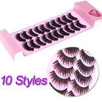 Wholesale 10 Pairs False Eyelashes Pure Handmade Natural Long Voluminous Fake Lashes H10854