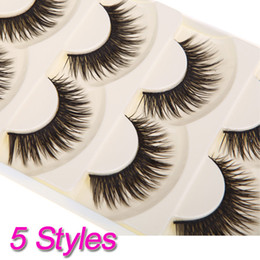 Wholesale 5 Pairs Pure Handmade Natural Long False Eyelashes Soft Fake Eye Lash H10849