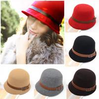 Wholesale Fashion Vintage Autumn Winter Adult Women Fedora Hat Dome Hat England Vintage Bowler Caps Multicolor Ladies Headwear Bucket Hat H3114