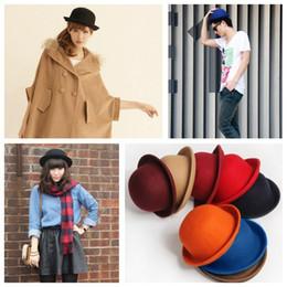 Wholesale 2015 Winter Fashion Vintage Women Men Fedora Dome Hat Cloche Unisex Billycock Classic Headwear Woolen Roll Brim Bowler Hats caps H3128