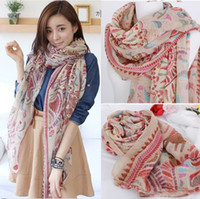 Wholesale 2014 new Korean winter Jixiang Hu cotton printed women scarf long oversized models big shawl WJ3029
