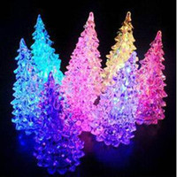 Wholesale 12pcs Flashing Christmas Tree Crystal Led Night Light Nightlamp X mas Party Decoration Children Gift L006