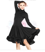 Wholesale Ladies Latin Dance costume Dress High Collar Long Sleeves Ball Gown Design Ballroom Party Show Skirt Stage Wear tl060