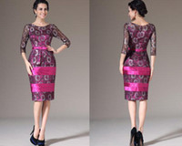 Wholesale Illusion Knee Length Long Sleeves Mother Cocktail Gowns Buttons Embellished Lace Satin Mother of the Bride Dresses Lovely Fuchsia Fitted