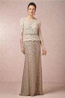 Wholesale Sheath Long Sleeves Two tones OverLace Mother of the Bride Dresses Ribbon Belt Illusion Beige Lace Top Brown Skirt Prom Evening Gowns