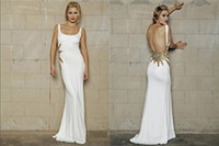 Wholesale Sexy Evening Dresses Feminine Straps Wide Scoop Neckline Golden Sequins and Beaded Crystal at Waist Sheath Low Bare Back Formal Gowns