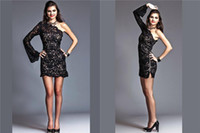 Cheap Reference Images Evening Cocktail Gown Best One-Shoulder Lace Fully Lace Cocktail Dress