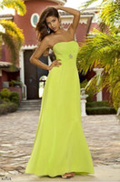 Wholesale Strapless Chiffon Bridesmaid Dresses Waist Beads Embellishments A Line Floor Length Formal Gowns For Wedding Prom Party Hot Sale