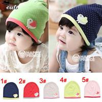 beanie babies chicken - Beanies PC new fashion round dot little chicken children sleeve hats skull caps for infant baby hats MZ1302