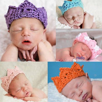 Wholesale Hot Handmade Newborn Baby Girl Boy Crochet Knit Crown Hat Photo photography Prop