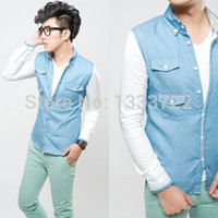 Casual Shirts Acetate Men New Arrival! 2014 Men's Fashion Comfort Stitching Design Silk Denim Casual Style Slim Long-sleeved Shirts A-2014