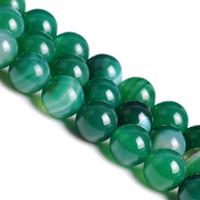 Al por mayor-6 8 10 12 mm raya verde ágata natural Onyx granos flojos de Gem 38 PC / porción de la manera granos de la joyería fabricación de joyas