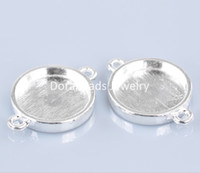 Wholesale Connectors Round Silver Plated Round Cabochon Setting x19mm Fits mm Dia B22151 seasons