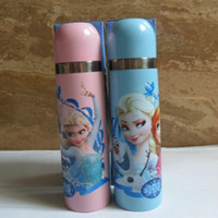 Wholesale Frozen Heat preservation Cup Drinkware Water Bottles ml Cartoon Frozen Elsa Anna metal keep warm Cup Water Bottle Freeshipping