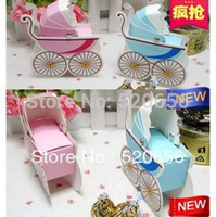 Wholesale pink blue baby carriage candy boxes girl boy baby shower favors party supplies kid birthday gift box chocolate box