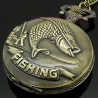 Wholesale Antique Vine Retro Bronze Fishing Angling Quartz Pocket Watch Necklace Pendant Men Women Gift P108