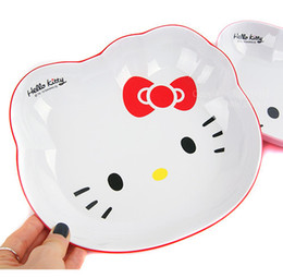 Wholesale Hello Kitty face plate melamine fruit plate dish drop resistance cartoon bowl two color tableware dinner plate