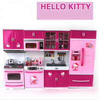 baby play kitchen - Children s play toy Gift Hello Kitty series baby happy Simulation of kitchen set toys for Children kinds plastic play house