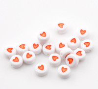 Wholesale hot White Red Love Heart Acrylic Flat Round Beads mm quot Dia B21780