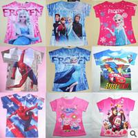 Wholesale New Baby Girls Frozen Girl T Shirt Kids Short Sleeve T shirt Children Frozen T Shirt One Piece Printed cotton short sleeve baby tops