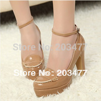 Wholesale round toe nude platforms pumps shoes fashion sexy ladies New Hot OL career thick high heels pumps for women retail