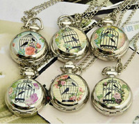 Wholesale Retro Mini Pocket Watch Necklace Script Floral Bird Cage Fascia WE107 Dia cm Mix design
