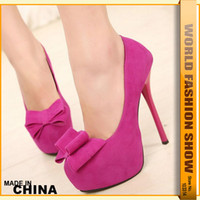 Wholesale Fashion Bow Pumps Sexy Thin High Heel Shoes Brand Design Red Bottom Platform Women Party Wedding Shoes Pumps WB961