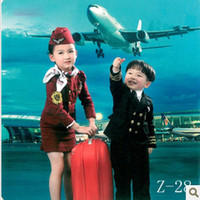 Wholesale The new air stewardess costumes children wear navy suit brother kindergarten little girl dress performance clothing studio pictures