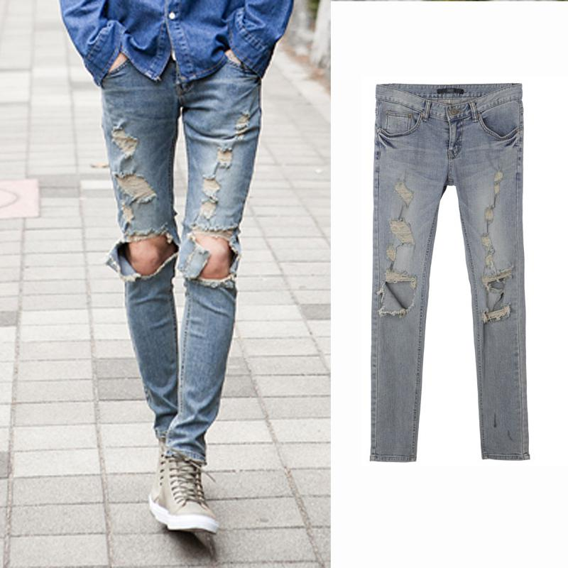 2017 Ripped Jeans For Men Skinny Distressed Slim Famous Brand ...