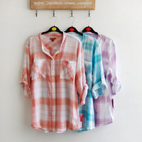 Wholesale Foreign Trade streets relaxed casual plaid shirt thin section nine points sleeve shirt sun protection clothing large size women