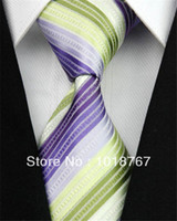 Wholesale NT0036 GREEN WHITE PURPLE STRIPED BRAND NEW MEN S FASHION CASUAL BUSINESS NECKTIE JACQUARD WOVEN SILK POLYESTER TIE FOR MEN