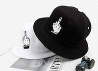 Cheap 2014 wild fingers embroidered flat basin hat brand casual fisherman hat fashion couple fuck lwtter bucket hats for men women