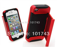 For Apple iPhone Metal Yes Free shipping Plastic + Silicone layers drawer credit card holder stand case cover For iPhone 4 4S,phone case for iPhone 4G