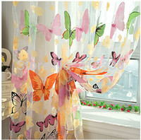 Wholesale high quality window butterflies tulle screening customize finished products balcony curtain panel