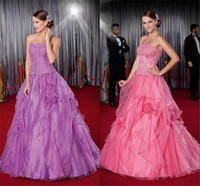 Cheap 2015 Color Strapless Lace Appliques Quinceanera Dresses A Line Organza Hand Made Flower Purple Prom Gowns babybride D3960