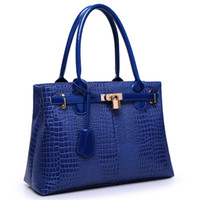 Wholesale 2014 new fashion crocodile leather handbag glossy red bridal styling women shoulder bags lock tote messenger bags