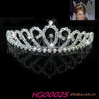 Wholesale W4 Crown Tiara F1Peach Heart Elegant Rhinestone Crystal bridal hair Jewelry Wedding Bride Party B10