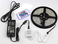 Wholesale M SMD rgb led strip waterproof LEDs Key IR Remote led tape V A power CE RoHS Aproved