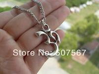 Wholesale christmas gift Script Om Necklace Retro silver yoga jewelry pendant charm ohm
