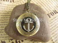 Wholesale anchor Pirates Antique locket necklace jewelry Gift Vintage Style