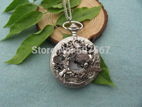 Wholesale big silver Alice in Wonderland Pocket Watch Necklace Jewelry Pendant men s gift