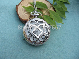 Wholesale silver the mortal instruments angelic Power Rune Pocket Watch Necklace mens jewelry