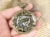 Wholesale big Alice in wonderland pocket watch pendant necklace with charm chain jewelry