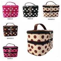 Wholesale Korean fashion women classic double Layered Polka Dot Makeup Cosmetic lady Zipper Cosmetic Case Bag Storage B8044