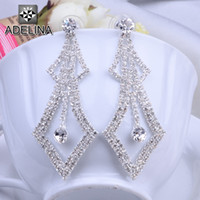 Dangle & Chandelier White Middle Eastern High Quality Copper Good Clear Crystal Drop Earrings Elegent Square Shape Bridal Earrings Rhinestone Party Prom Pageant Jewelry