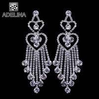 Wholesale New arrival charms copper silver plated bridal chandelier earrings crystal long tassel earrings for women at party prom